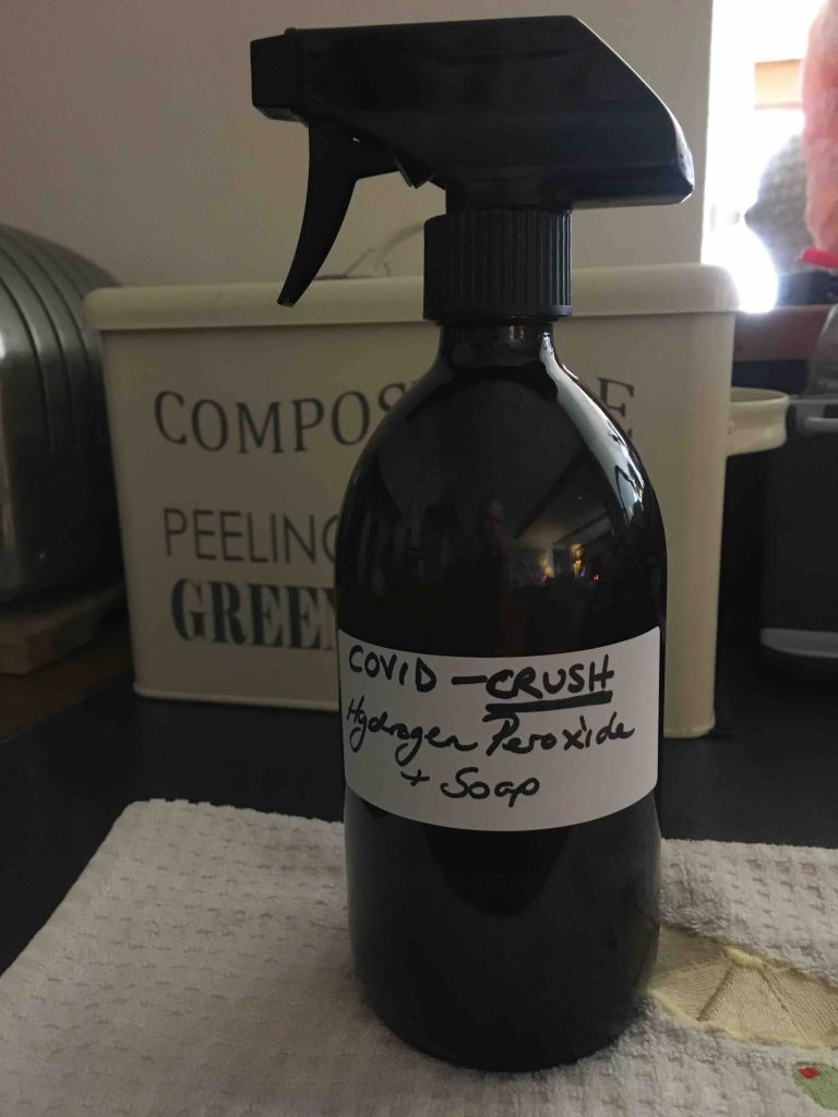 Hydrogen Peroxide and Soap Spray